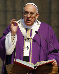 Pope Francis gives the homily while celebrating Mass at St. Mary Mother of the Redeemer Parish on the outskirts of Rome March 8. (CNS photo/Paul Haring) See POPE-MERCY March 9, 2015.
